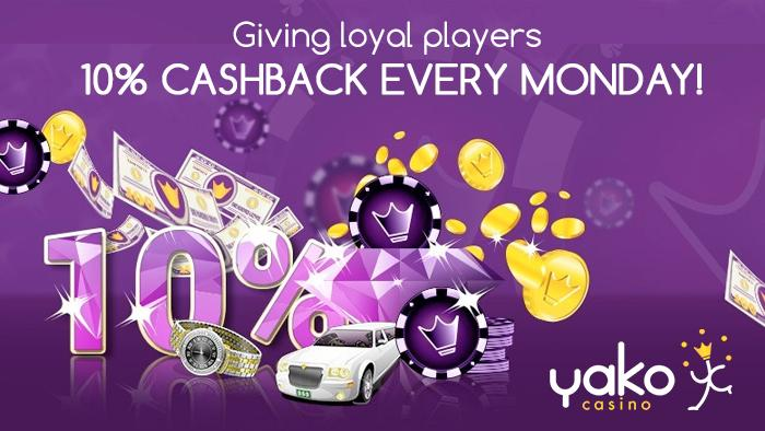 Yako Casino brings that Friday feeling to Mondays with 10% cashback!